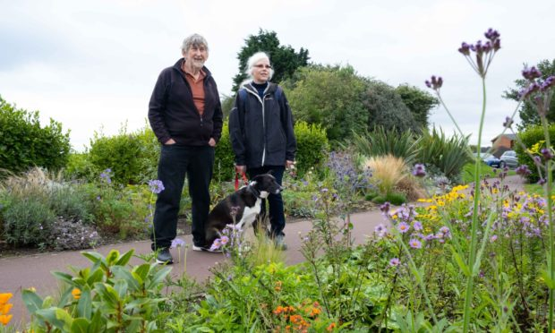 Monifieth Eco Force members Alex Graham and Seonaid McGurk at the garden concerned.