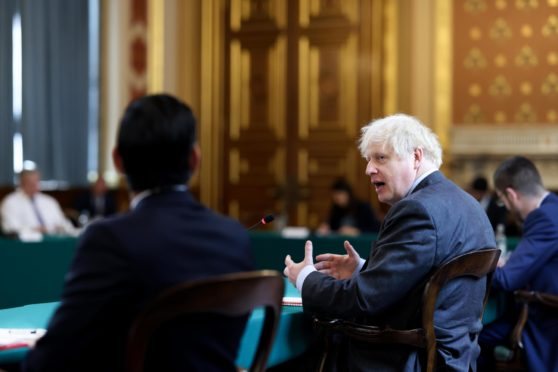 Prime Minister Boris Johnson chairing his weekly Cabinet meeting.