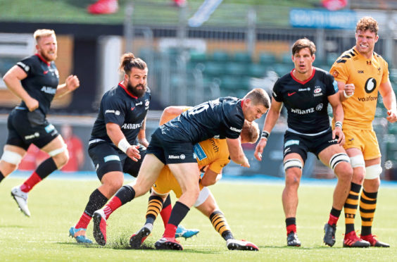 Mandatory Credit: Photo by Matthew Impey/Shutterstock (10766752n) Owen Farrell of Saracens is sent off for this high tackle on Charlie Atkinson of Wasps in the 2nd half Saracens v Wasps, Rugby Union, Gallagher Premiership, Allianz Park, Hendon, London, UK - 05/09/2020