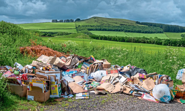 An example of fly-tipping on the outskirts of Auchterhouse, near Dundee.