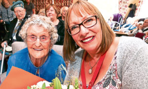 Mary Fowler, a resident of Balfarg Care Home in Glenrothes, was given flowers by Fife councillor Jan Wincott on her 101st Birthday in September 2017.