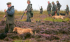 Members of a shooting party on Forneth moor near Dunkeld, Perthshire, as the grouse shooting season gets underway.