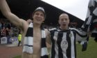 John Sutton and Charlie Adam celebrate St Mirren's 2006 First Division title win.