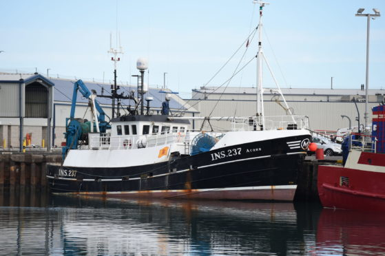 The Fishing boat Acorn INS 237 in Peterhead Harbour Picture by Paul Glendell.
