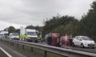 The scene of the crash on the A92 Dundee to Crossgates road, near Cowdenbeath.
