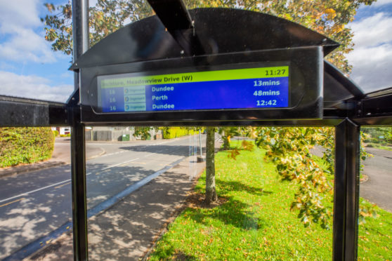 The Meadowview Drive bus stop in Inchture now has a real-time display. Picture: Steve MacDougall.