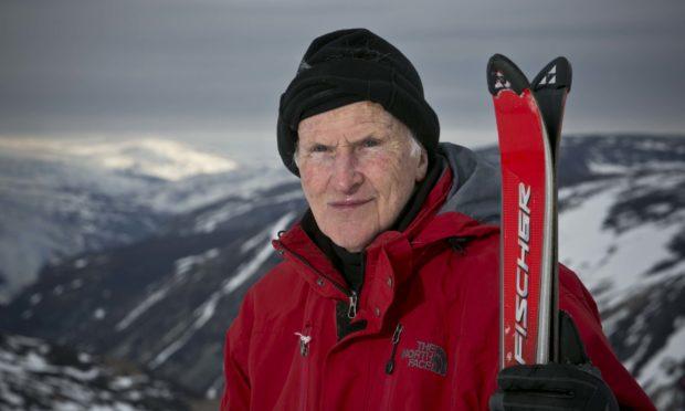 Dr Alan Gibb, pictured aged 93, at Glenshee Ski Centre.