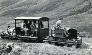 Dalmunzie railway, complete with passengers and a dog, in April 1977.