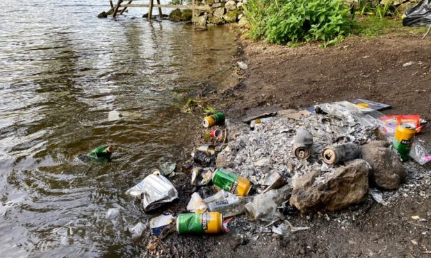 Dirty campers leave litter at Loch Tummel