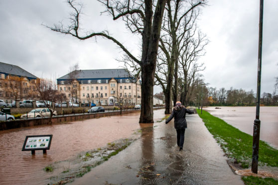 The aftermath of the storm at the South Inch, which saw heavy flooding. Picture: Steve MacDougall.