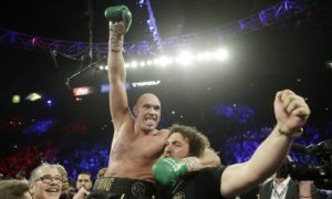 Tyson Fury celebrates after defeating Deontay Wilder during a WBC heavyweight championship boxing match on Saturday, February 22 2020.