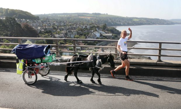 Johanna Maria Wurtz from Germany has walked to Dundee from Spain with her Shetland pony Hechizo to gain a work placement at the James Hutton Institute in Invergowrie.