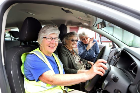 Tay Valley Timebank in Aberfeldy volunteer drivers, Liz Richards  is a volunteerr driver with the Timebank and is picking up Joyce Evans (92) and Sadie Fraser (88) at their homes in Farragon Cottages in Aberfeldy