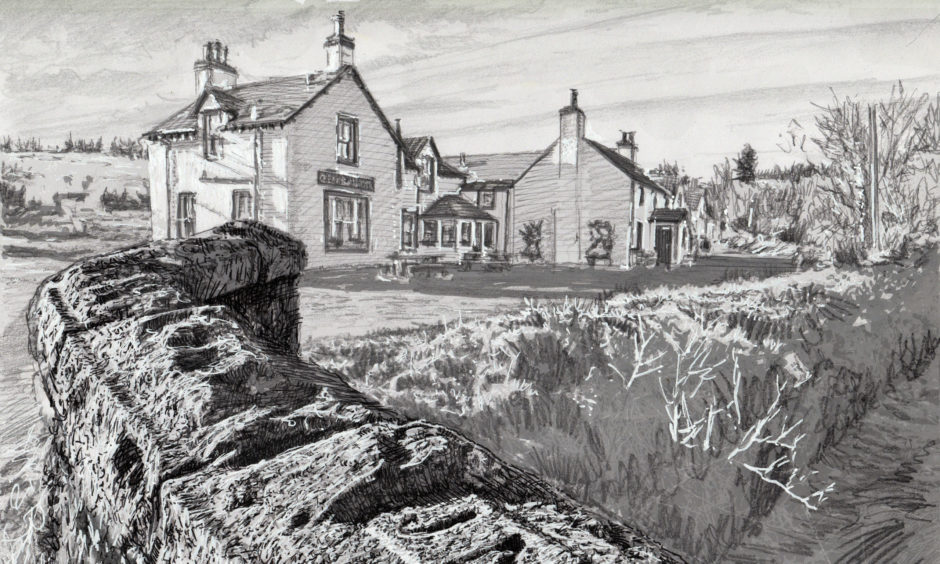 A sketch of the Glenisla Hotel and the Kirkton Burn.