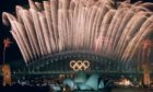The closing ceremony fireworks for the Sydney 2000 Olympic Games erupt.