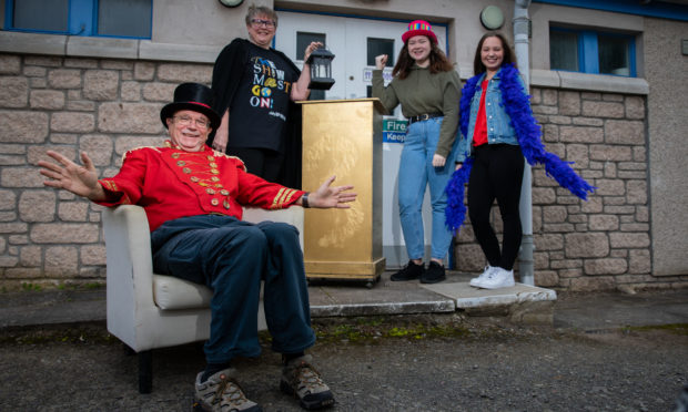 Dave Ross (President), Joanna Fitzgerald (Panto Co-producer), Cerys Fitzgerald and Sarah Oliphant (both Coreographers), Dibble Tree Theatre, High Street, Carnoustie,