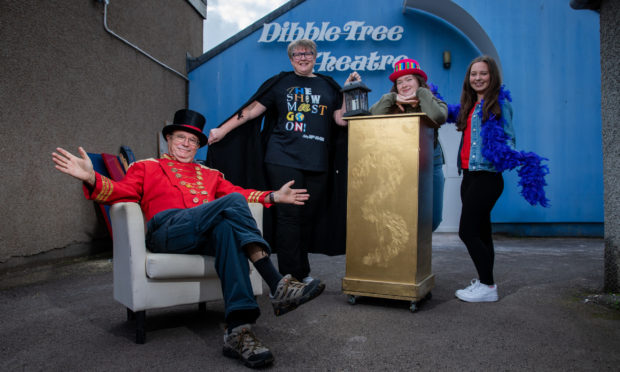 Dave Ross (President), Joanna Fitzgerald (Panto Co-producer), Cerys Fitzgerald and Sarah Oliphant (both Choreographers), Dibble Tree Theatre, High Street, Carnoustie.