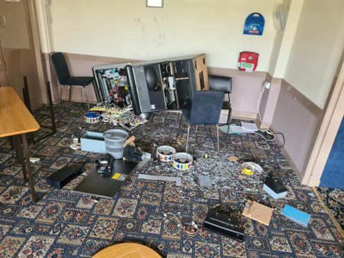 Some of the damage at the bowling club after break-in.