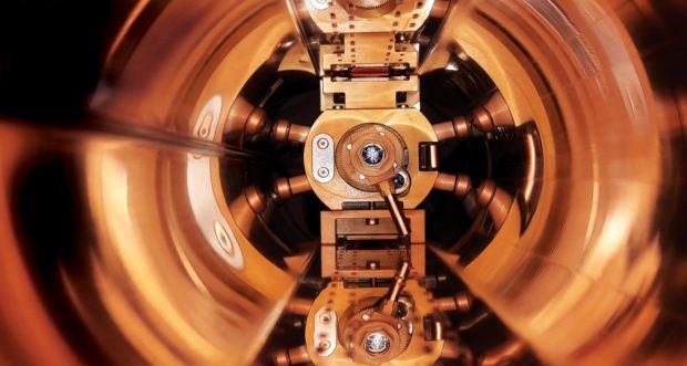 The robot developed by Dundee University working inside a LHC beam screen. Pic: CERN