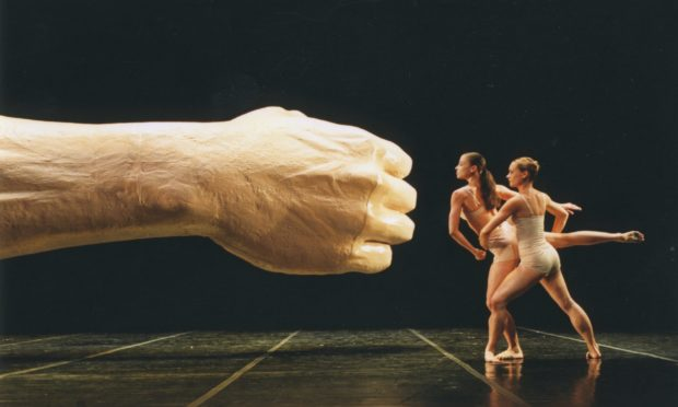 Lorena Randi and Victoria Insole in Before and After The Fall, 2001. Hebbel-Theater, Berlin.