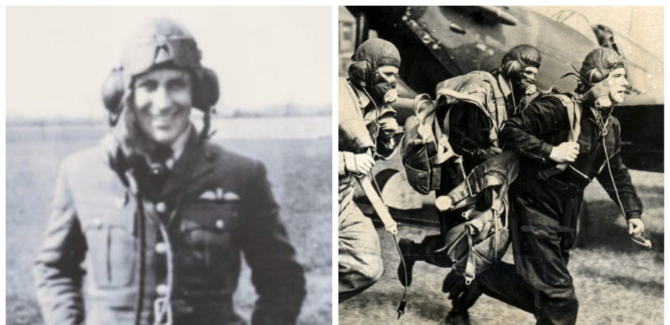 Canadian pilot John Benzie (left) and RAF pilots running into the action during the Battle of Britain.