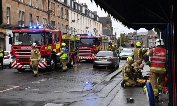 Emergency services at the scene of the blaze on North Methven Street in Perth