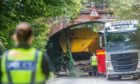 The Fife Council operated vehicle struck the bridge close to Oakley.