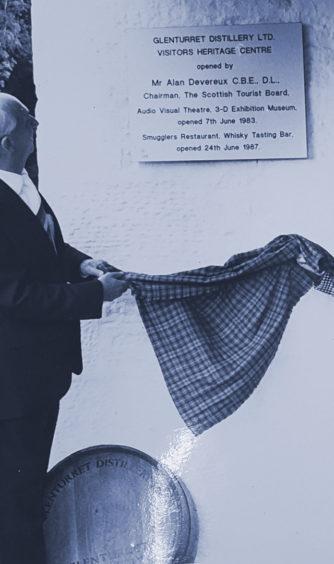 The Glenturret Distillery visitors heritage centre being opened in 1983.