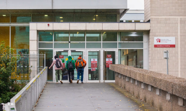 Students at Perth College on Wednesday following the outbreak