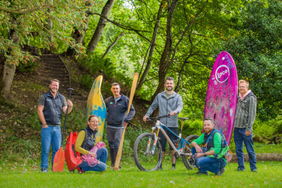 Picture shows, left to right is, Ross Dempster (Beyond Adventure), Sarah Turner (Wee Adventures), Piotr Gudan (Outdoor Explore), Adam Flint (Progression Bikes), Ben Case (The Canyoning Company) and Matt Gambles (Paddle Surf Scotland) -- Woodland near The Cross and Dunkeld Cathedral, Dunkeld