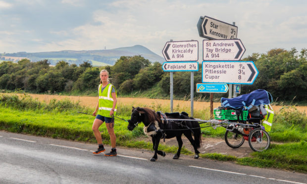 Johanna Maria Wurtz and shetland pony Hechizo passed through Fife yesterday.