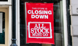 The closing down sign