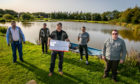 Anglers Jim Adamson, Ross Christie, Stuart Christie, Terry McDaid and Mel Price at Geordie's Pond.