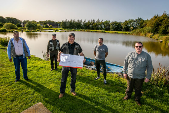 Anglers Jim Adamson, Ross Christie, Stuart Christie, Terry McDaid and Mel Price at Geordie's Pond.