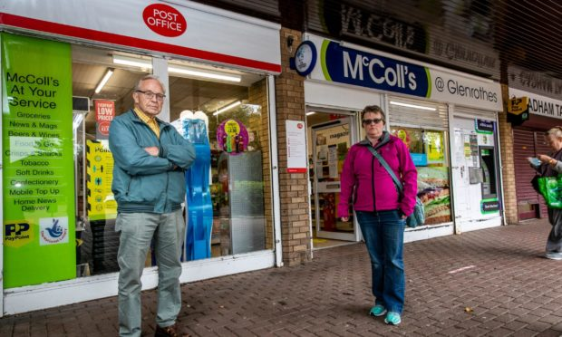 North Glenrothes Community Council members Ron Page and Denise Wallace outside one of the earmarked post offices.