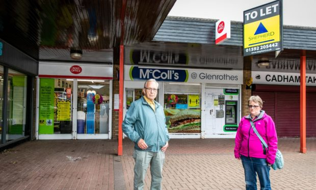 North Glenrothes Community Council chairman Ron Page with vice-chairwoman Denise Wallace outside the McColl's Store in Cadham.