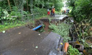 Damage to Station Road in Forgandenny.