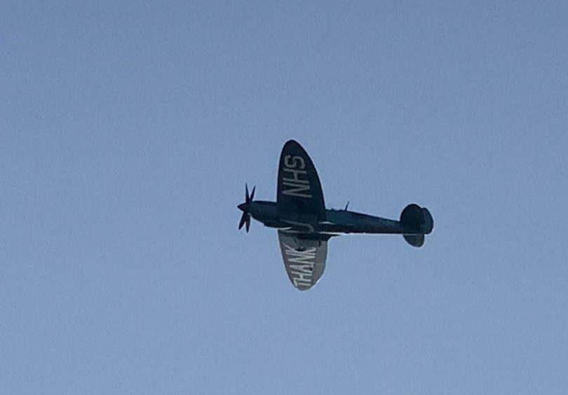 The RAF plane over Dunfermline.