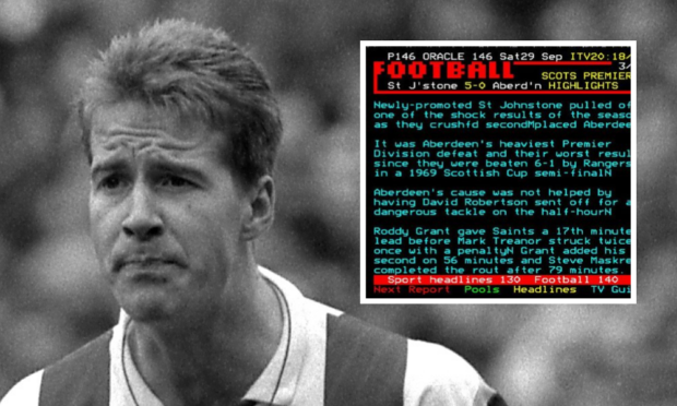 Former Saints star Mark Treanor and teletext report, inset.