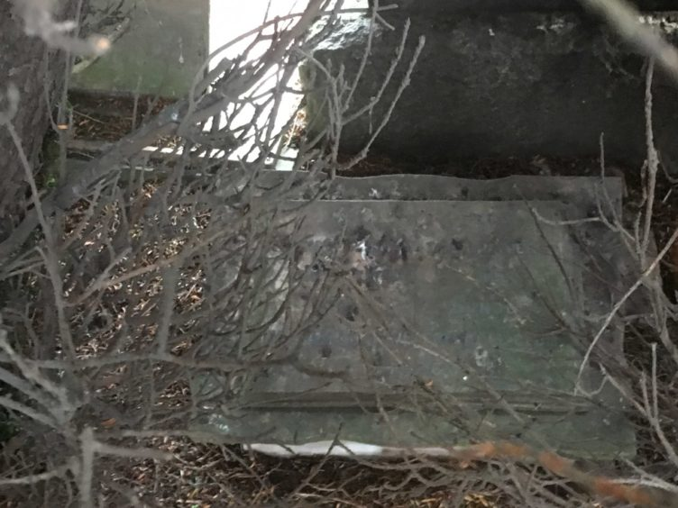 The yew tree hiding the grave stone of Dark Blues legend.