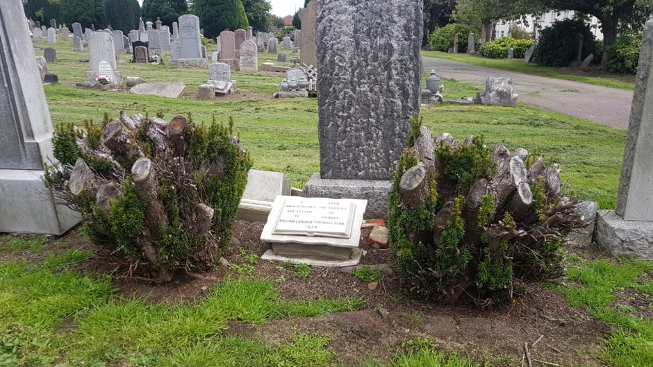 Newly-cleaned grave marker for Longair, a 'token of respect' from Dundee FC players in 1926.