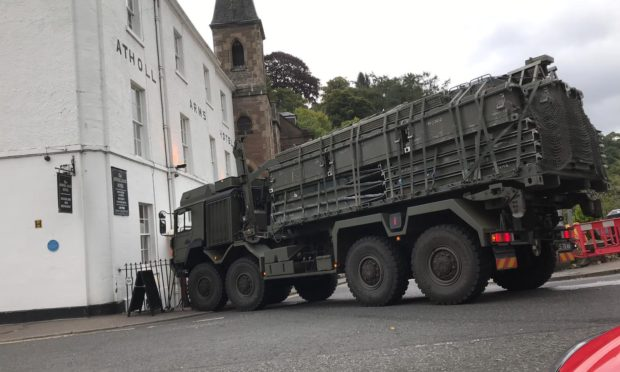 The crash at the Atholl Arms Hotel, Dunkeld, on Tuesday morning.