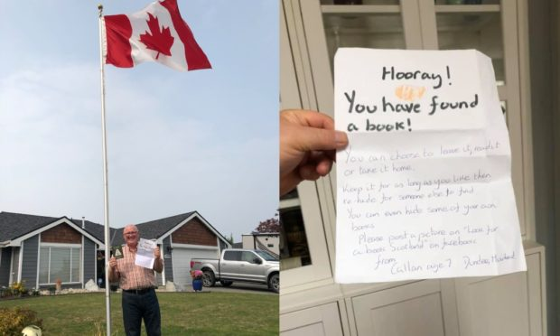 Michael Dally with Callan's book and note outside his home in Canada.