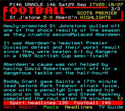 St Johnstone's win over Aberdeen as it was reported on teletext.