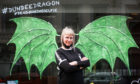 Tracey Stewart with her, 'Dundee Dragon Wings Selfie' on Reform Street.