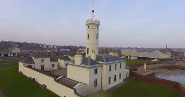 The Signal Tower Museum at Arbroath seafront.