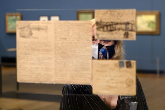 Mandatory Credit: Photo by Hollandse Hoogte/Shutterstock (10940566j) Letters written by Vincent van Gogh, at the exhibition 'Your Loving Vincent'. Van Gogh's most beautiful letters at the temporary exhibition. The Van Gogh Museum is showing letters from the painter, which rarely come into the open because of their vulnerability. 'Your Loving Vincent' exhibition, Van Gogh Museum, Amsterdam, The Netherlands - 06 Oct 2020