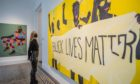 Mandatory Credit: Photo by Guy Bell/Shutterstock (10977862x) blacklivesmatter (Divine Protesting), 2020 - Becoming a new exhibition by Ghanaian painter Kwesi Botchway. Curated by Ekow Eshun it is at Gallery 1957 in Hyde Park Gate. Created whilst in-residence at the gallery's Ghana space, mostly under lockdown restrictions during the COVID-19 pandemic, the works reflect on a moment of worries of survival as well as global racial and political unrest. Becoming by Ghanaian painter Kwesi Botchway at Gallery 1957., Hyde Park Gate, London, UK - 28 Oct 2020