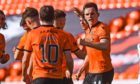 Lawrence Shankland and Nicky Clark celebrate the former's goal against St Mirren.
