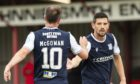 Graham Dorrans celebrates after scoring to make it 1-0 during the Betfred Cup match between Brora Rangers and Dundee at Dudgeon Park.